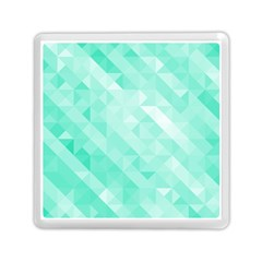 Bright Green Turquoise Geometric Background Memory Card Reader (square)