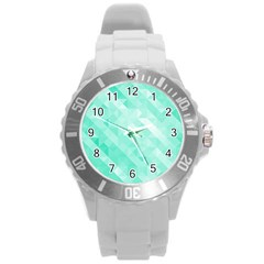 Bright Green Turquoise Geometric Background Round Plastic Sport Watch (l)