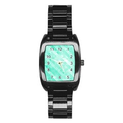 Bright Green Turquoise Geometric Background Stainless Steel Barrel Watch