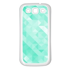 Bright Green Turquoise Geometric Background Samsung Galaxy S3 Back Case (white)