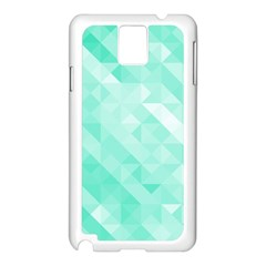 Bright Green Turquoise Geometric Background Samsung Galaxy Note 3 N9005 Case (white) by TastefulDesigns