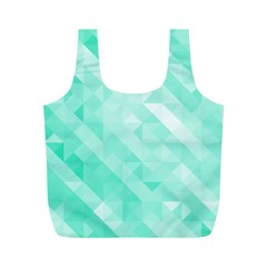 Bright Green Turquoise Geometric Background Full Print Recycle Bags (m)