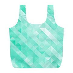 Bright Green Turquoise Geometric Background Full Print Recycle Bags (l)