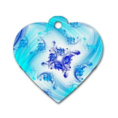 Summer Ice Flower Dog Tag Heart (two Sides) by designsbyamerianna