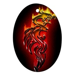 Dragon Fire Oval Ornament (two Sides)