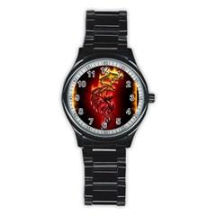 Dragon Fire Stainless Steel Round Watch