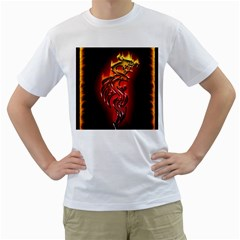 Dragon Fire Men s T Shirt (white)