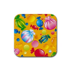 Sweets And Sugar Candies Vector  Rubber Square Coaster (4 Pack)