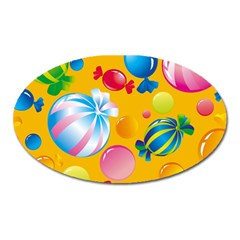 Sweets And Sugar Candies Vector  Oval Magnet by BangZart