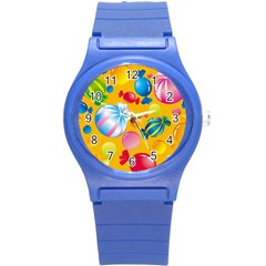 Sweets And Sugar Candies Vector  Round Plastic Sport Watch (s)