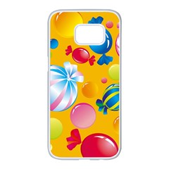 Sweets And Sugar Candies Vector  Samsung Galaxy S7 Edge White Seamless Case by BangZart