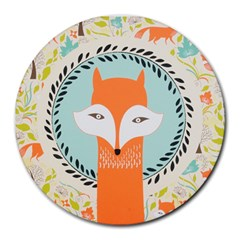 Foxy Fox Canvas Art Print Traditional Round Mousepads