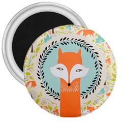 Foxy Fox Canvas Art Print Traditional 3  Magnets