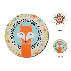 Foxy Fox Canvas Art Print Traditional Playing Cards (round)