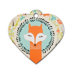 Foxy Fox Canvas Art Print Traditional Dog Tag Heart (two Sides)