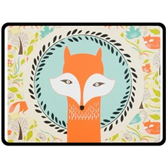 Foxy Fox Canvas Art Print Traditional Double Sided Fleece Blanket (large)