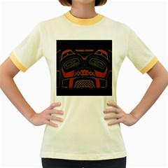 Traditional Northwest Coast Native Art Women s Fitted Ringer T Shirts by BangZart