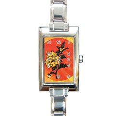 Vector Asian Flowers Rectangle Italian Charm Watch