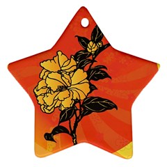 Vector Asian Flowers Star Ornament (two Sides)