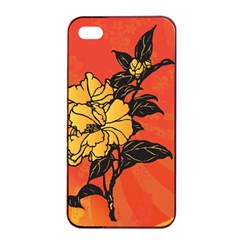 Vector Asian Flowers Apple Iphone 4/4s Seamless Case (black)