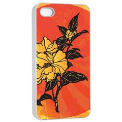 Vector Asian Flowers Apple Iphone 4/4s Seamless Case (white)