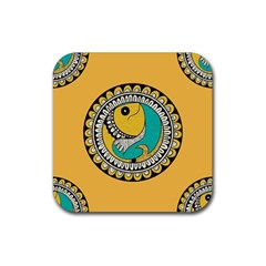 Madhubani Fish Indian Ethnic Pattern Rubber Coaster (square)