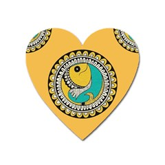 Madhubani Fish Indian Ethnic Pattern Heart Magnet