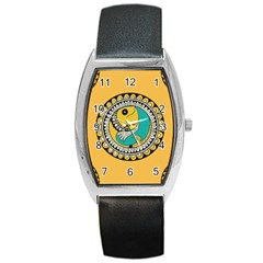 Madhubani Fish Indian Ethnic Pattern Barrel Style Metal Watch