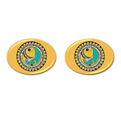 Madhubani Fish Indian Ethnic Pattern Cufflinks (oval) by BangZart