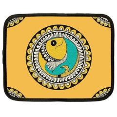 Madhubani Fish Indian Ethnic Pattern Netbook Case (large)