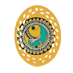 Madhubani Fish Indian Ethnic Pattern Ornament (oval Filigree)