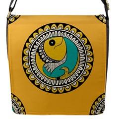 Madhubani Fish Indian Ethnic Pattern Flap Messenger Bag (s)
