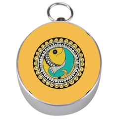 Madhubani Fish Indian Ethnic Pattern Silver Compasses