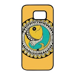 Madhubani Fish Indian Ethnic Pattern Samsung Galaxy S7 Edge Black Seamless Case by BangZart