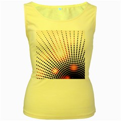 Radial Dotted Lights Women s Yellow Tank Top