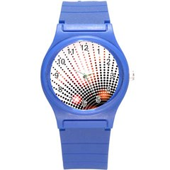 Radial Dotted Lights Round Plastic Sport Watch (s)