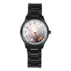 Radial Dotted Lights Stainless Steel Round Watch by BangZart