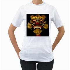Bali Mask Women s T Shirt (white) (two Sided)