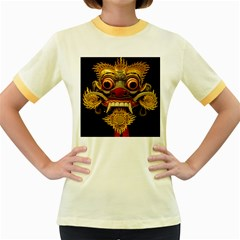Bali Mask Women s Fitted Ringer T Shirts