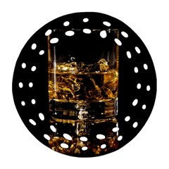 Drink Good Whiskey Round Filigree Ornament (two Sides)