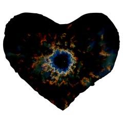 Crazy  Giant Galaxy Nebula Large 19  Premium Flano Heart Shape Cushions