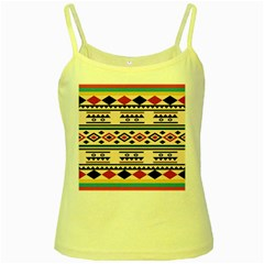Tribal Pattern Yellow Spaghetti Tank
