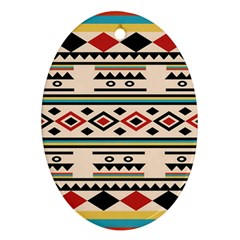 Tribal Pattern Oval Ornament (two Sides)