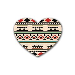 Tribal Pattern Rubber Coaster (heart)  by BangZart