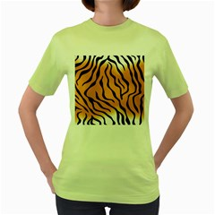 Tiger Skin Pattern Women s Green T Shirt
