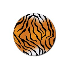 Tiger Skin Pattern Rubber Round Coaster (4 Pack)