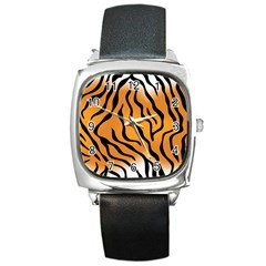Tiger Skin Pattern Square Metal Watch