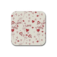 Pattern Hearts Kiss Love Lips Art Vector Rubber Coaster (square)