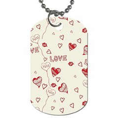 Pattern Hearts Kiss Love Lips Art Vector Dog Tag (two Sides)