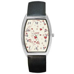 Pattern Hearts Kiss Love Lips Art Vector Barrel Style Metal Watch